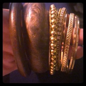 Wooden and gold big bracelets Mach up